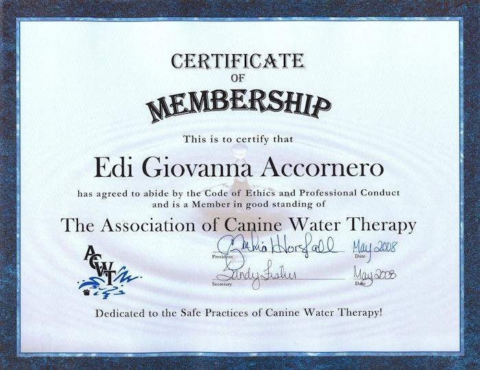 Attestato Edi Giovanna Accornero - Water Therapy